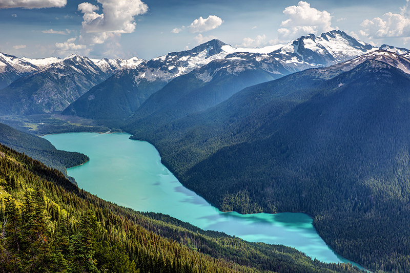 The High Note Trail offers the most scenic view of Cheakamus Lake in the Garibaldi Provincial Park.