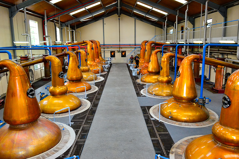 The distinctive pot stills in Dufftown distillery - the only time whisky distilling should go pear-shaped!