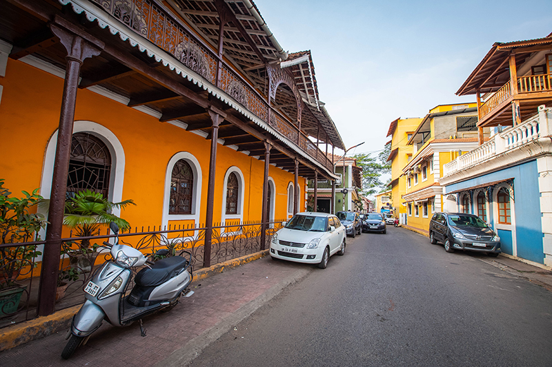 A walk through Fontainhas, known as the Latin Quarter, in Goa's  capital city of Panaji, pulls you through the rainbow architecture and street décor that sets India apart and lets you know that you are in a unique destination.