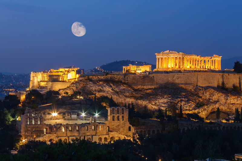 The Acropolis is possibly even more spectacular by night as it is by day. Although the Parthenon dominates this ancient site, there are many other historical ruins to explore here, high above the city of Athens.