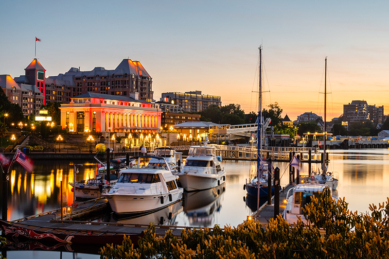 The vibrant lights of Vancouver Harbour on Vancouver Island, just off Canada's Pacific Coast. An RCI Exchange Holiday to this destination stands out for Janine as one of the best holidays she has enjoyed..