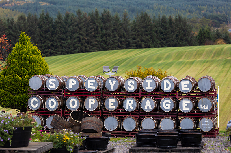 Even the casks are crafted in the legendary region of Speyside. The Speyside Cooperage is the only establishment of its kind in the UK, and produces/repairs 150,000 casks made from American Oak each year.