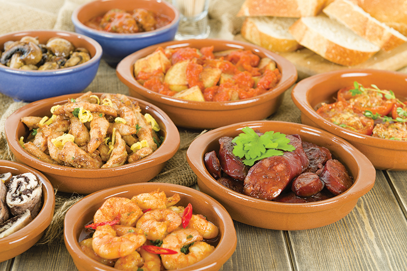 Typical Spanish tapas is both a delicious spread and a sociable way to pass a relaxing lunch.