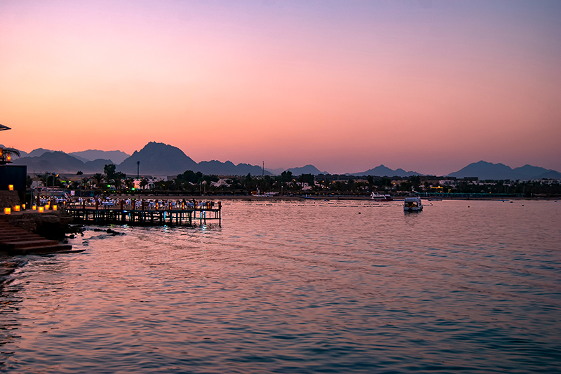 Naama Bay is a natural bay in Sharm El Sheikh. All restaurants are glowing with lanterns and look really cosy, so why not stop off for a bite to eat one evening - it is very romantic.