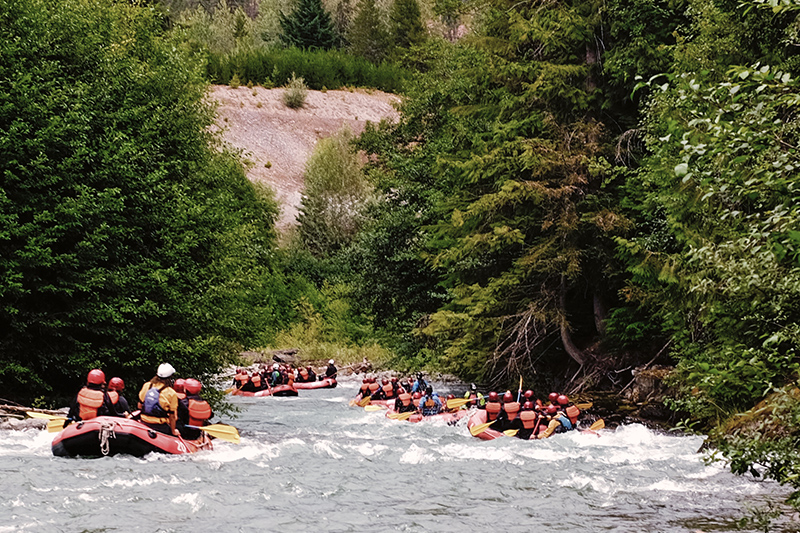 Join a white water rafting trip. They take you just north of Whistler Village to Green River, which provides the perfect combination of fun, bouncy rapids, and picturesque scenery for first-timers, or for those on a family adventure.