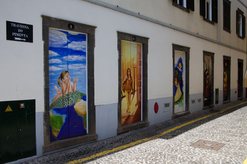 Funchal is a colourful city, helped along by the Painted Doors Project. The public art project has transformed the Zona Velha area into a permanent art gallery with  works created by a number of renowned artists, including architect Paulo David and the designer Nini Andrade Silva.