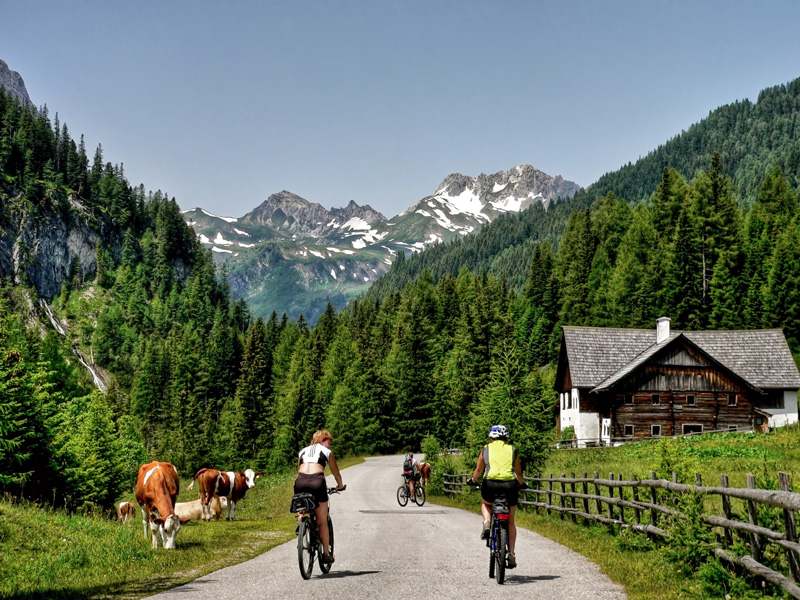 Austria is a fantastic holiday destination. It combines hills and flat terrain so is great for families if you have younger cyclists with you, and also has some incredible views of the mountains as you ride.