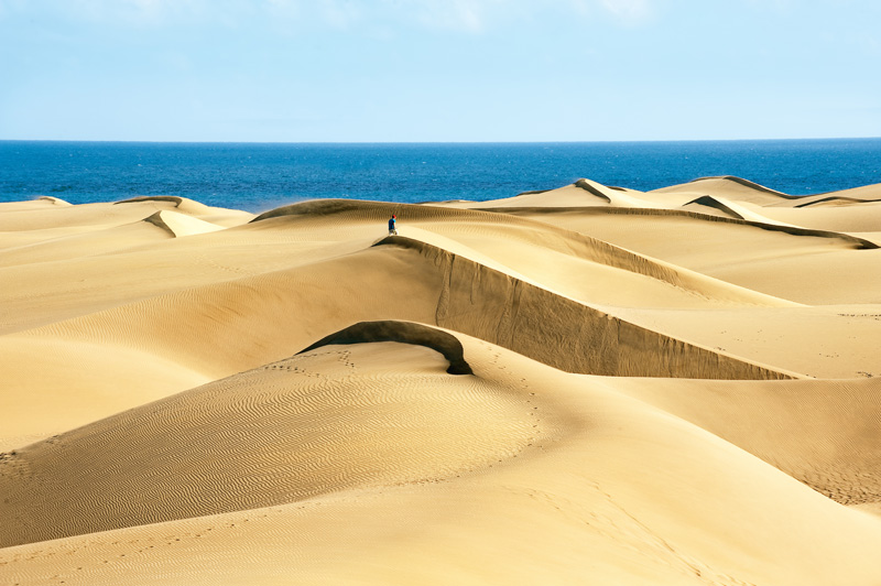 The amazing sand dunes of Maspalomas - the most popular tourist area on Gran Canaria.