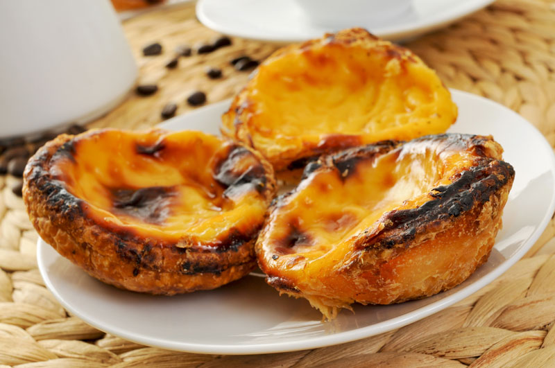 While in Madeira, you must stop at a café for a delicious Pastel de nata custard tart. The creamy custard tart is a delicacy here and you'll find them all over the island served with or without cinnamon.