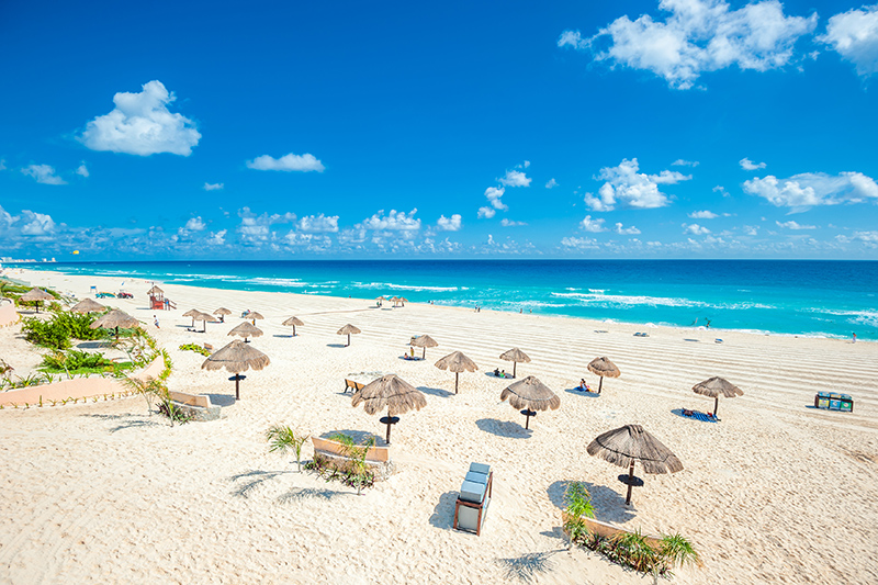 There are plenty of white-send beaches in Cancún, so you can take time out and relax.