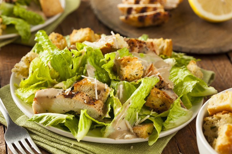 Italian-American restaurateur Caesar Cardini gave his name to this deliciously sweet and crunchy salad which, legend has it, he created by accident as he had run out of ingredients.
