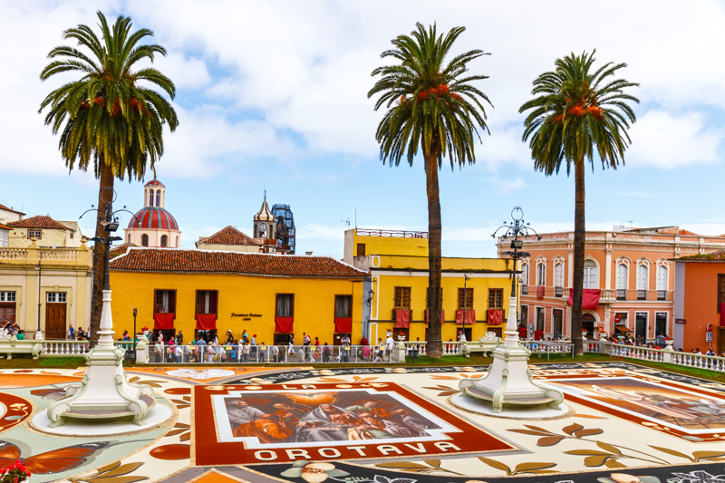 Corpus Christi Flower Festival is big La Orotava, a traditional Tenerife town, where sand murals mark the event outside the Town Hall.
