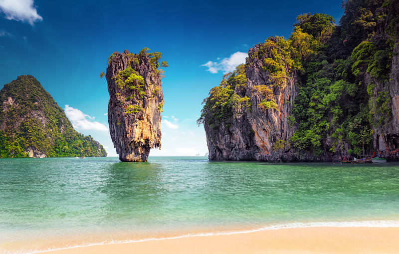 Phuket in Thailand has featured in many films and is a popular 'flop and drop' destination for those seeking complete rest and relaxation on its exquisite beaches.