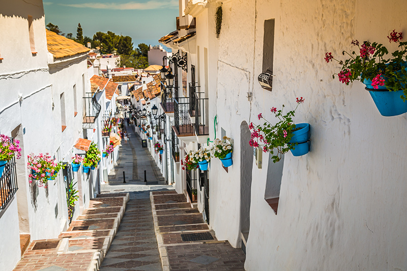 Mijas is one of the many picturesque white villages on Spain's Costa del Sol where fabulous vistas combine with fine Spanish food to make for a wonderful holiday experience.