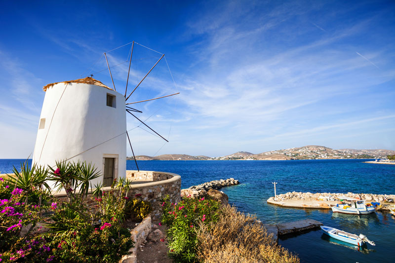 Look out for the local ferries which can transport you to one of Greece's many paradise islands, such as the island of Paros, pictured here.