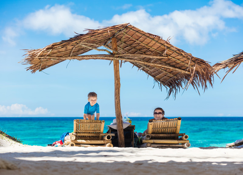 There are usually plenty of areas offering shade around holiday destinations, so be sure to use them when you need to, especially if you have children with you.