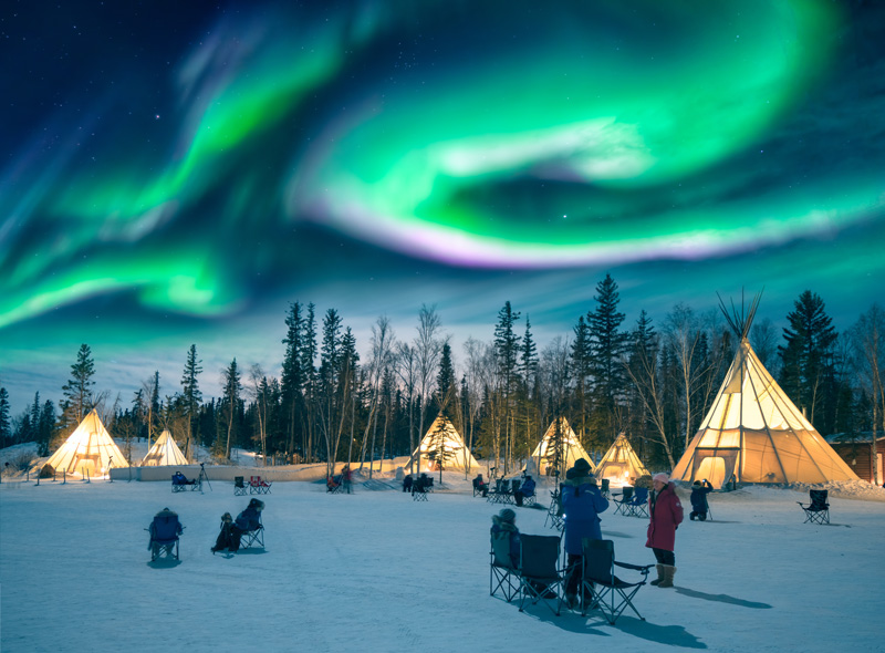 Whitehorse in Yukon and Yellowknife in the Northwest Territories in Canada are prime Northern Lights viewing destinations, being very close to Alaska.