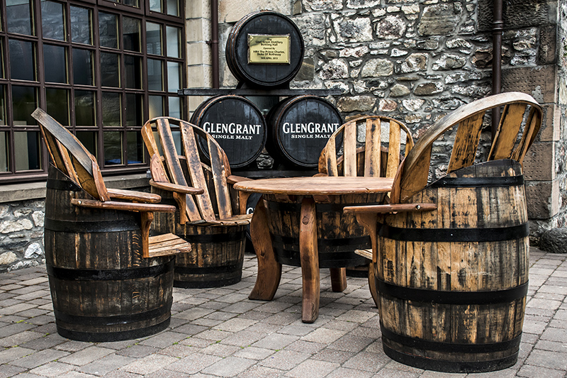 A rather unique outside seating area at the GlenGrant distillery, crafted from whisky barrels.