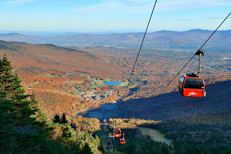 The Gondola SkyRide in Stowe is a ride worth taking to get the best views over the burnished autumnal landscape of Vermont.