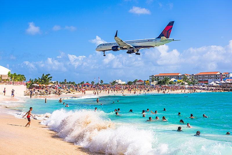 Maho Beach is an entirely different experience to all other Caribbean beaches. It is located at the end of a runway, and so it is quite the novelty, sunbathing with a jumbo jet flying directly overhead.