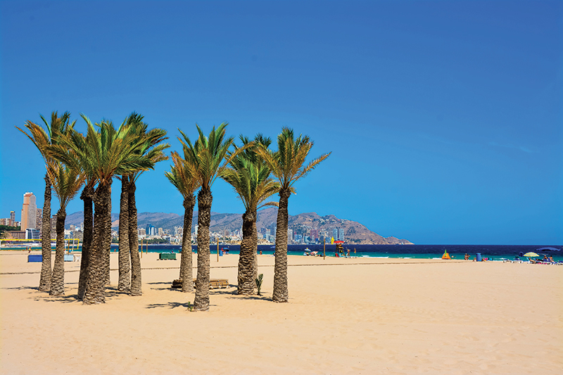 Take a walk along the palm tree-lined promenade of Playa de Poniente - the golden sands are stunning!