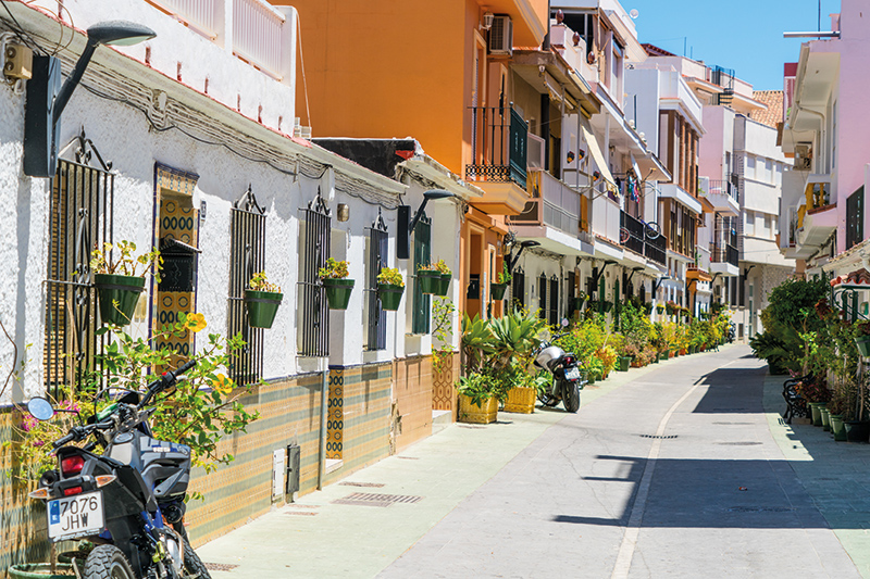 One of the pretty streets in La Cala de Mijas. There are plenty of shops to wander around and a vast selection of bars and restaurants for you to choose from.