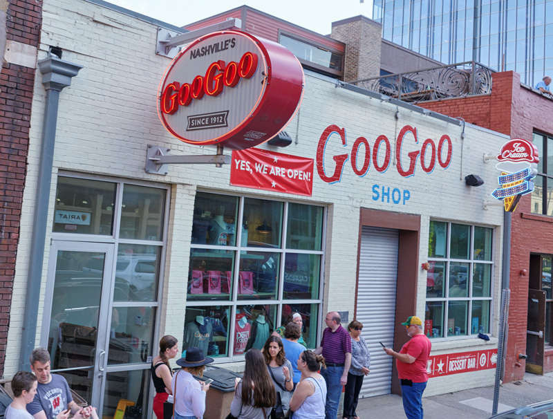 Holidays to Nashville must include a visit to the Goo Goo shop to try their famous Goo Goo Cluster.