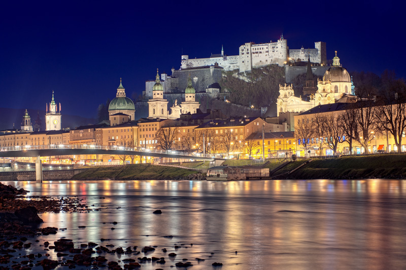 Fortress Hohensalzburg is one of the largest medieval castles in Europe and one of Salzberg's most beautiful attractions. It looks particularly spectacular at night,