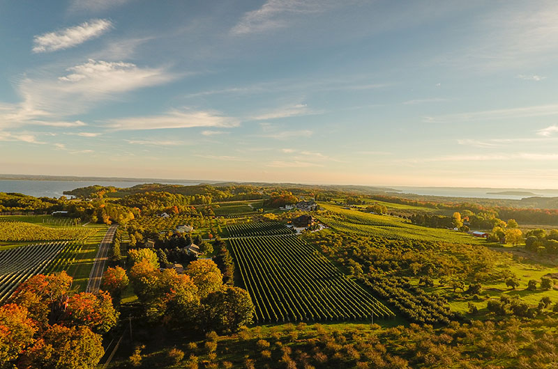 The lake shores are rich in orchards, farmers' markets, wineries, and simply exquisite drives throughout the area as you wind your way from one attraction to another, such as the Old Mission Peninsula pictured here.