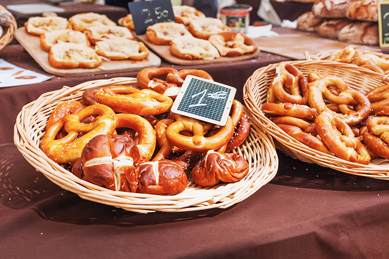A freshly baked pretzel from a local boulangerie will certainly stave off those early-morning hunger pangs.