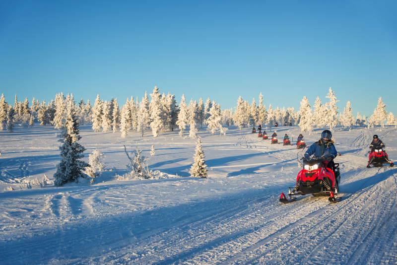 If you happen to holiday in Finland during the winter months, you will be in for a very snowy treat! Make the most of the snow by exploring the countryside on a snowmobile safari.