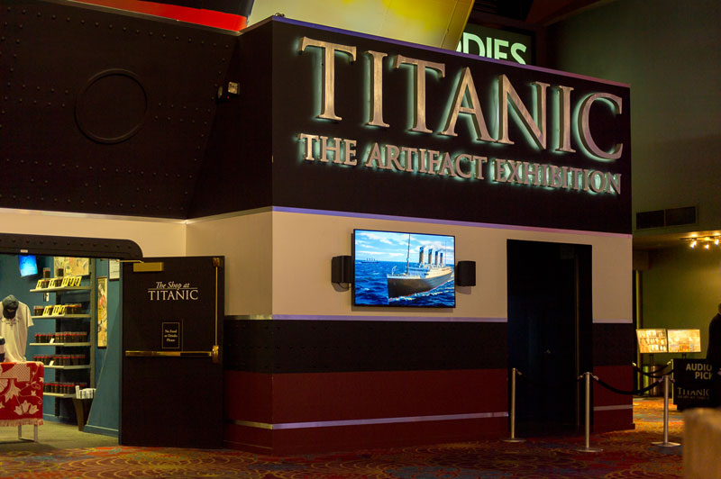 The Titanic Exhibit at the Luxor Hotel includes artefacts recovered from the wreck, including luggage, the ship's whistles, floor tiles from the first-class smoking room and an unopened bottle of champagne.