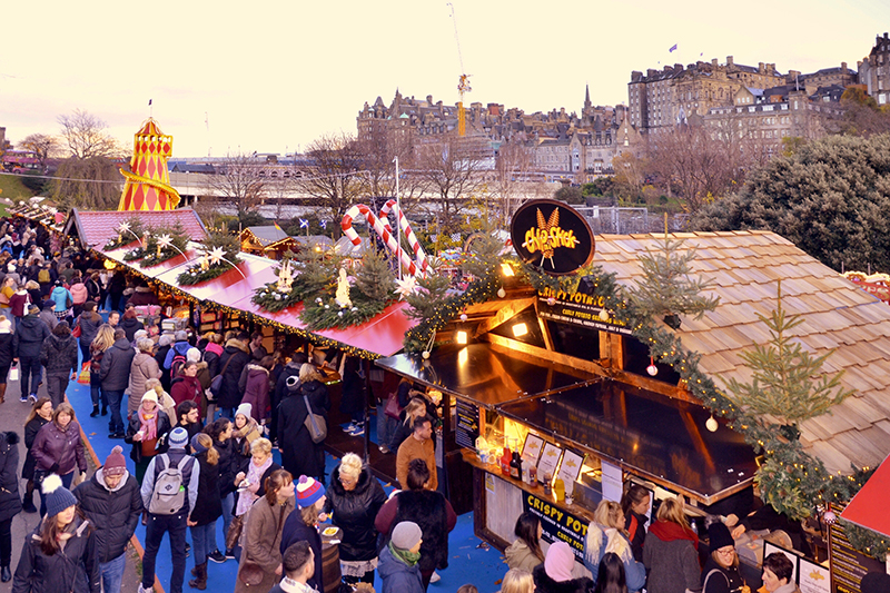 Enjoy the Alpine market with a backdrop of the Edinburgh skyline. Why not visit the castle this Christmas and enjoy the 'Castle of Light' attraction. The battlement is lit up with sparkling illuminations and, rumour has it, a dragon might make an appearance.