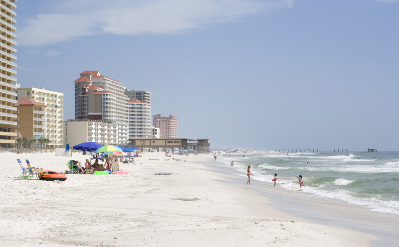 Broad swathes of sand as white as snow fringe the twin resorts of Gulf Shores and Orange Beach. There is plenty of room for sunbathers, swimmers and families.