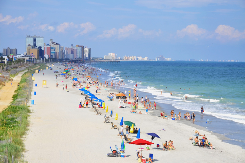 Myrtle Beach boasts 60 miles of pale coastline. Combine that with the warm sunshine and you have a great holiday destination.
