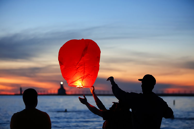 Sending their dreams, ambitions and wishes up with their lanterns at the Lantern Festival in Pingxi in New Taipei City in Taiwan.