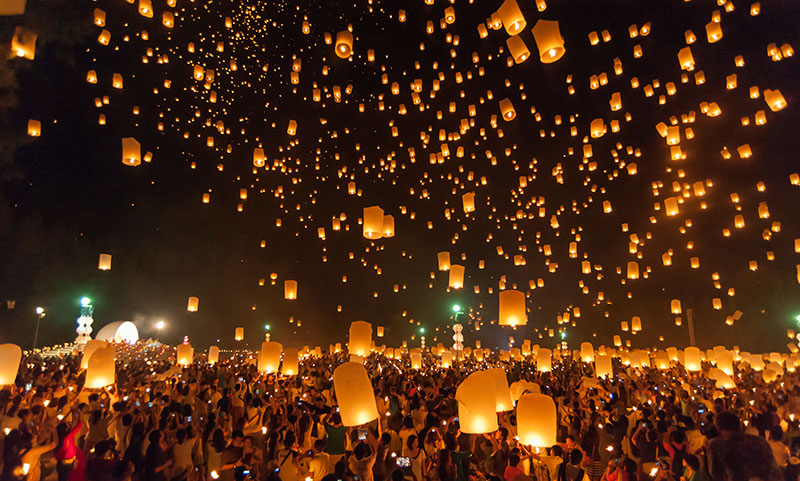 The Sky Lantern Festival in Pingxi in New Taipei City in Taiwan, is a colourful way the spring is welcomed. The tradition dates back 2,000 years to the Buddhist monks in honuor of Buddha.