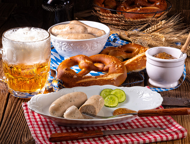 German food is also a huge part of Oktoberfest. Look out for the likes of bratwurst and currywurst sausages, sauerkraut, kartoffelsalat and brazen - a large, soft pretzel.