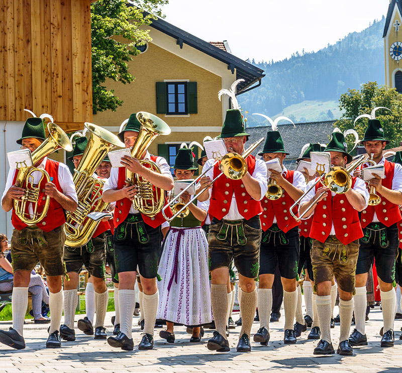 The Oompah band is one of the highlights of the festivities, ensuring everyone gets up dancing and singing along to modern pop songs and traditional Bavarian melodies.
