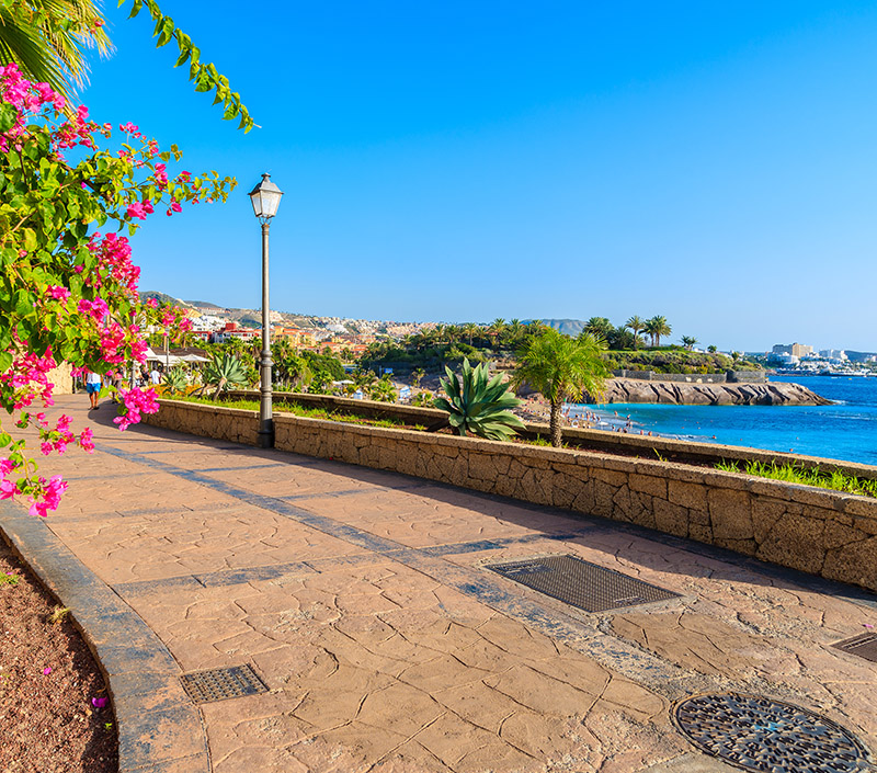 You can walk from Los Cristianos all the way to Costa Adeje which is very picturesque with views out to sea. There are also lots of bars and restaurants along the way to stop off for a drink or a bite to eat.