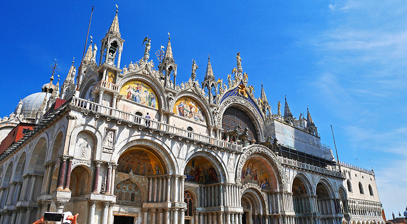 St Mark's Basilica is a stunning church in the Piazza San Marco, and contains an incredible array of mosaics, domes and statues.