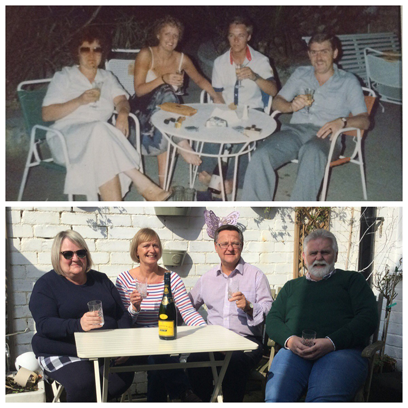 Then and now - from left, Kim, Susan, Brian and Martyn on that first holiday where they met in Mallorca in 1978. And in 2014, the four came together again using Susan and Brian's RCI timeshare exchange for a reunion back in Mallorca.