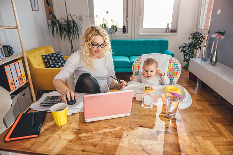 If you're working from home, set yourself up at a dining table or desk, and try to keep your surroundings organised and calm.