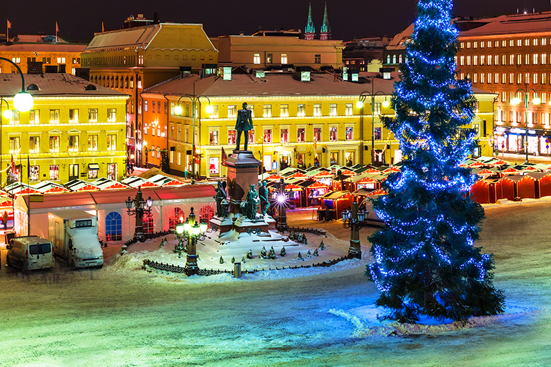 Helsinki, Finland, has earned the name 'Christmas City' thanks to its swathes of twinkling lights, ice rinks and jolly festive events at Christmas.
